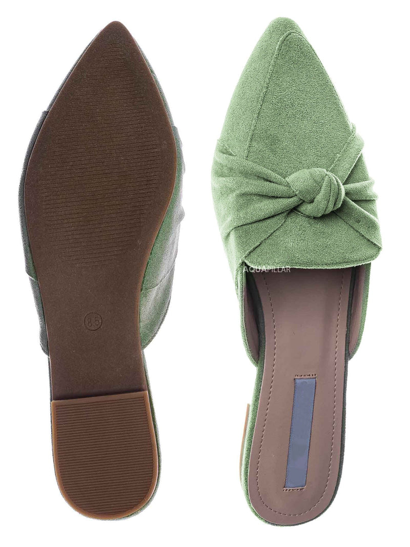 Mint Green / Mules11 Knotted Pointed Toe Slides - Women's Slide In Close Toe Slipper