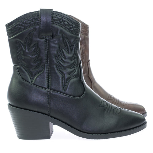 Picotee BlackPu High Ankle Western Cowboy Boots, Chunky Stack Block Heel & Stitch Detail