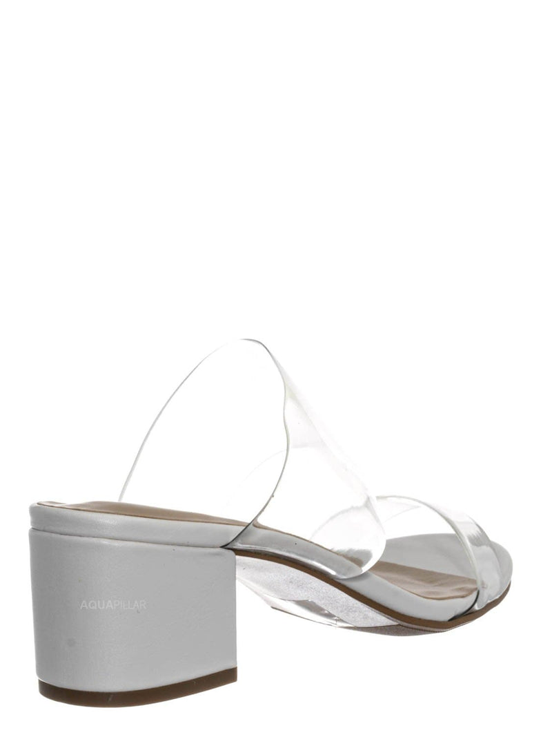 White Clear / Soap Transparent Block Heel Mule - 90s Retro Lucite Clear Twin Strap Slides