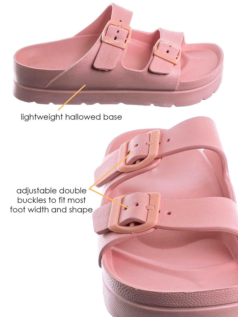 Pink / Glee01 Lightweight Two Strap Molded Footbed -Flexible EVA Jelly Slide In Sandal