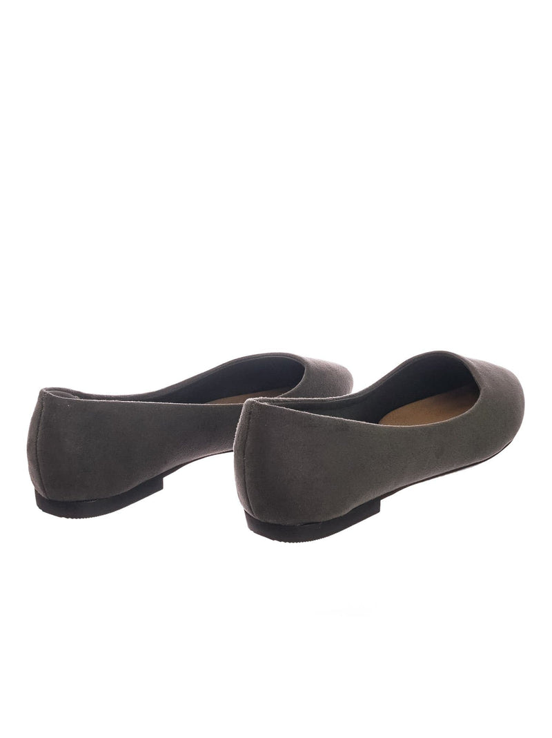 Stone Gray / Hold Pointed Toe Foam Padded Ballet Flat - Wide Width Women Comfort Loafers
