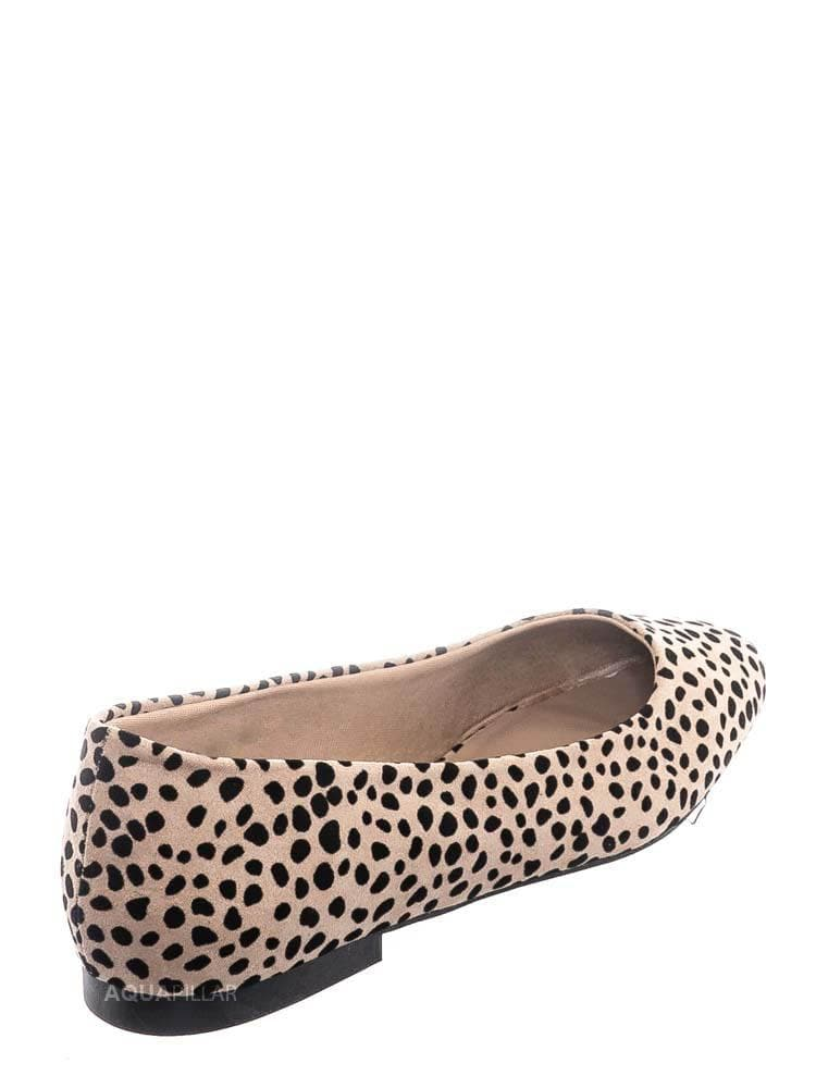 Cheetah Faux Suede / Sweep01 Square Toe Ballet Flats - Womens Solid & Cheetah Ballerina Padded Shoes