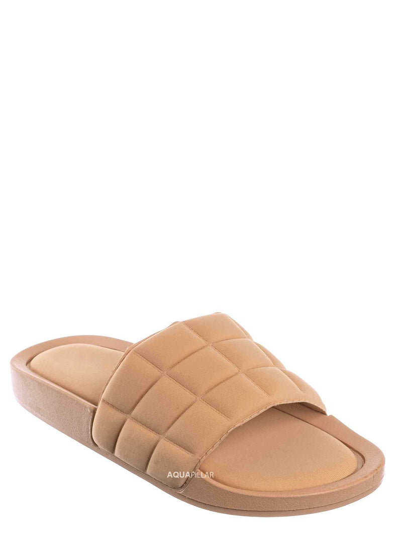 Nud Biege / Comex16 Boho Quilted Padded Sandal - Women Slide Molded Footbed Slipper Sandal