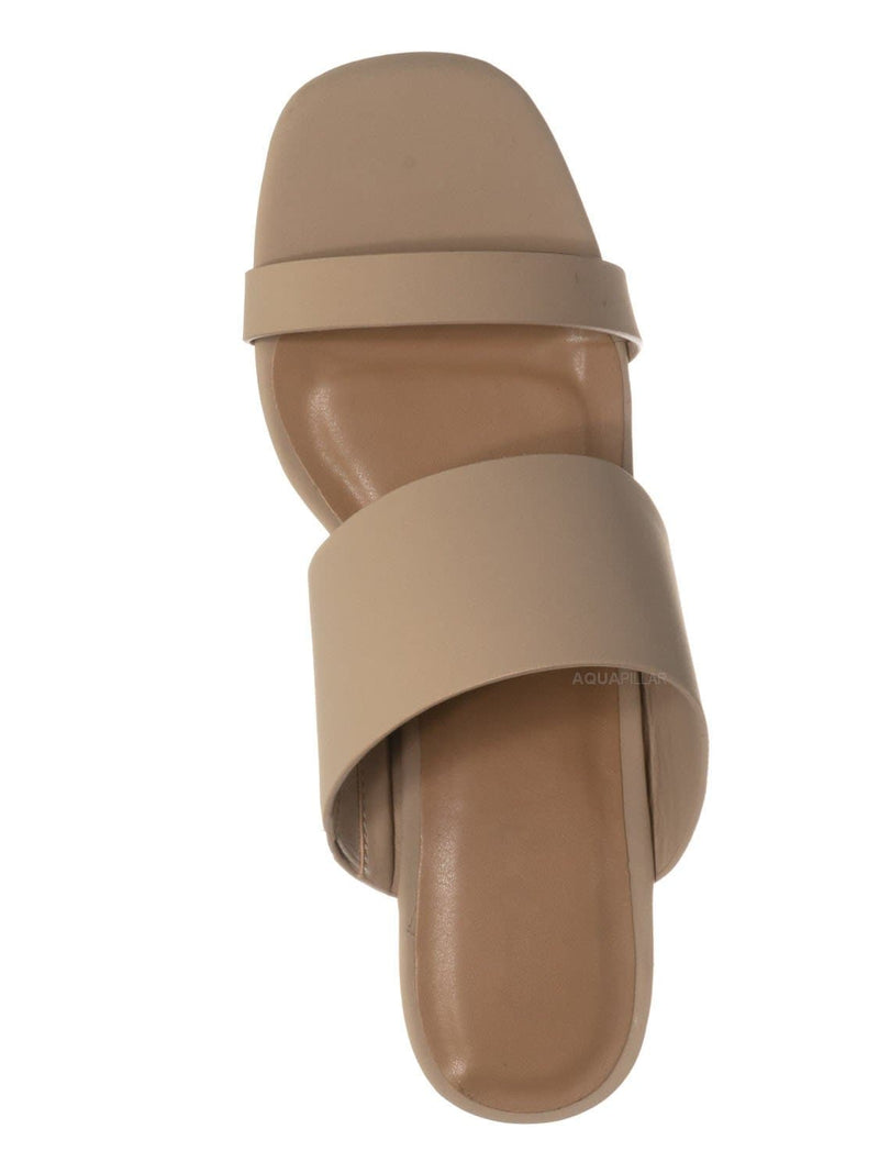 Nude Beige Nubuck / Milestone07 Block Heel Slide In Sandal- Women Wide & Thin Double Strap Mule