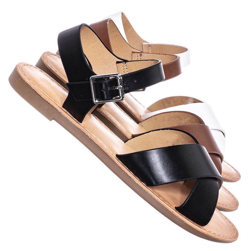 Tire2 Children Girl Open Toe Flat Sandal w Ankle Strap
