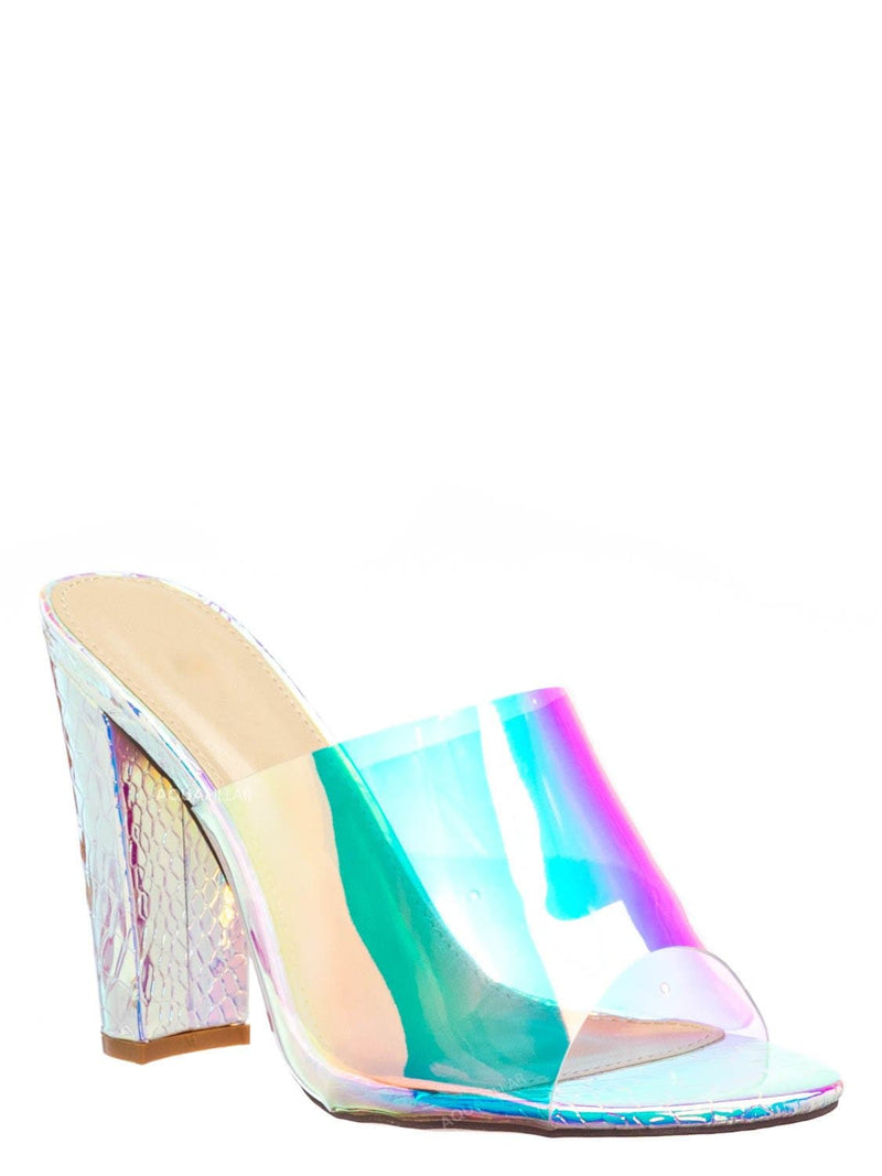 Silver / Kimberly4 Iridescent Clear Vinyl Mule - Chunky High Heel Peep Toe Lucite Sandal