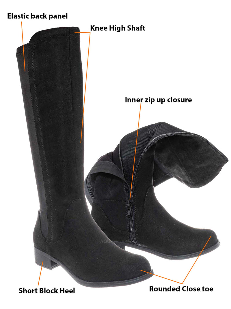 Black Suede / Cheese Knee High Elastic Riding Boots