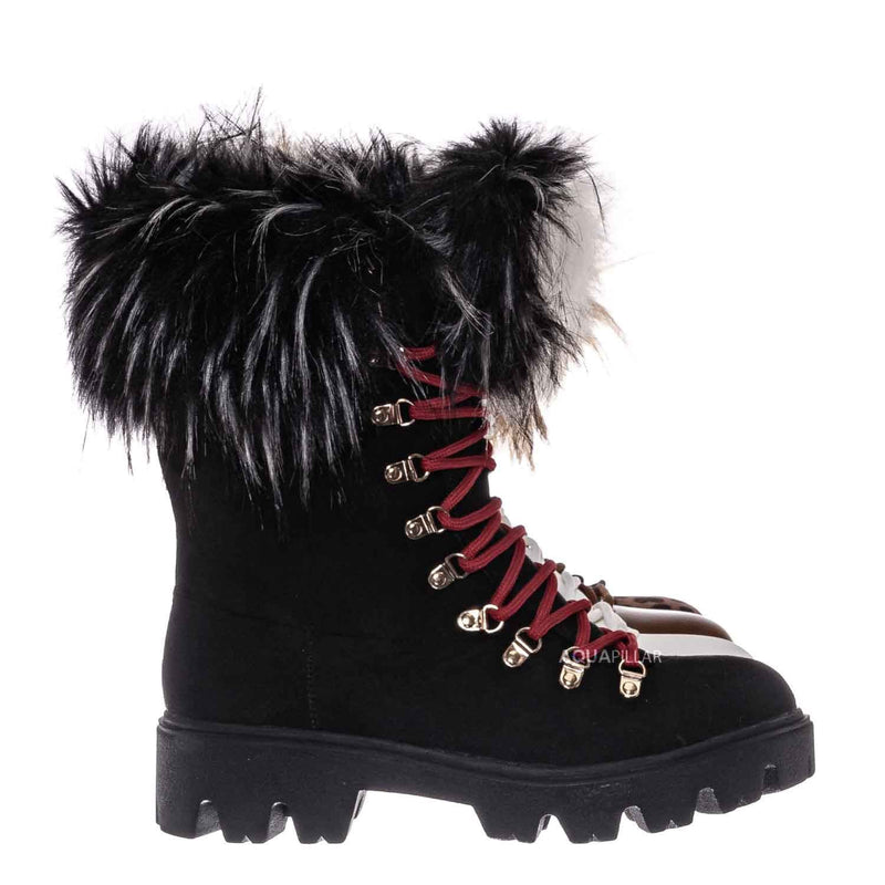 Force11 Faux Fur Combat Boots - Fluffy Military Vegan Furry Shoes