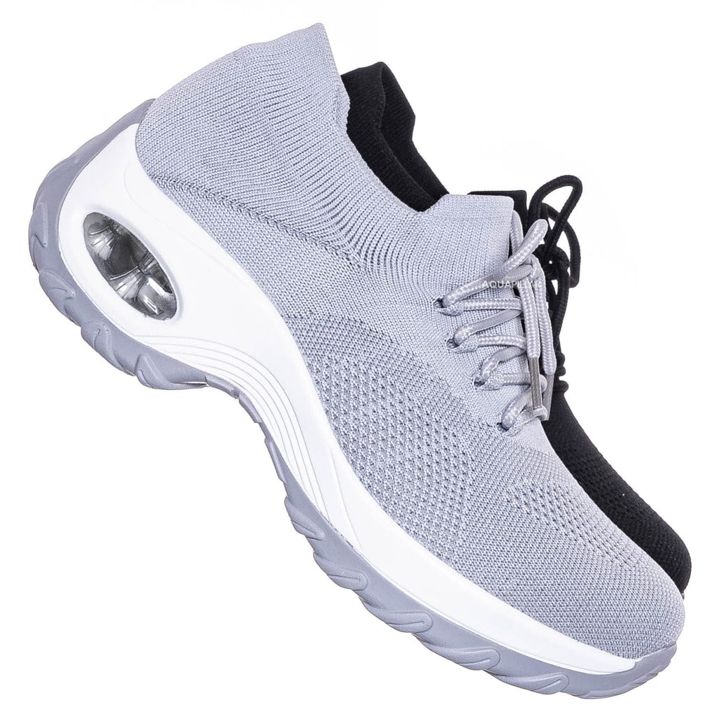 Gray / Whtie / Impact35 Lace Up Sock Sneaker - Retro Knitted Cushioned Stretch Knit Snockers