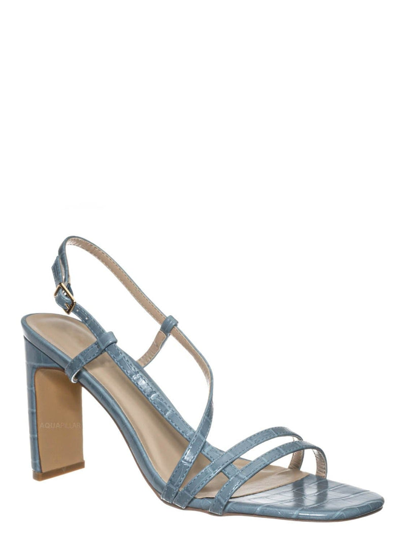 Blue Croc / Kaiya1 Barely There Flat Block Heel Sandal - Open Squared Toe Animal Croc Print