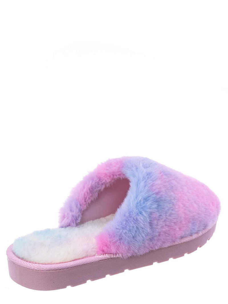 Multi Color / Snuggle07 Furry Flatbed Slipper Mule - Mukluk Winter Slip On For Men & Women