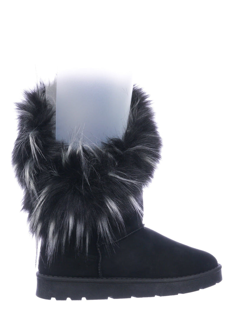 Black Faux fur / Frozen01 Asymmetrical Faux Fur Mukluks - Womens Winter Cozy Boots