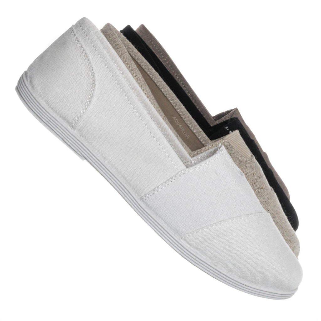 White Linen / Obji Soft Flexible Slip On Sneaker - Unisex Round Toe Linen Canvas Shoe