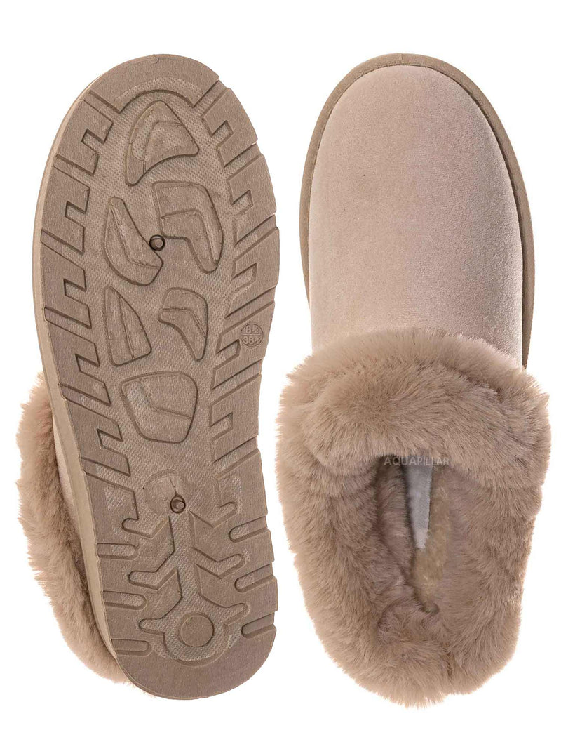 Ivory Beige / Frozen31 Faux Fur Moccasin Slipper - Winter Fluffy Cozy Bootie