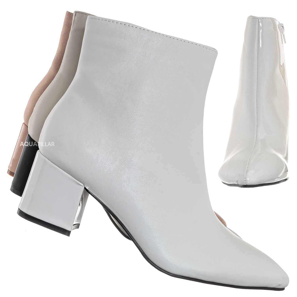 White Pu / Patent / Rapid17 Two Tone Double Sided Split Color Block Bootie