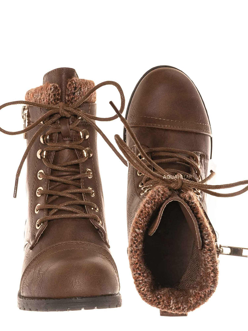 Tan / Mango31k Childrens Sweater Trim Combat Boots - Kid Knitted Military Cuff Shoe