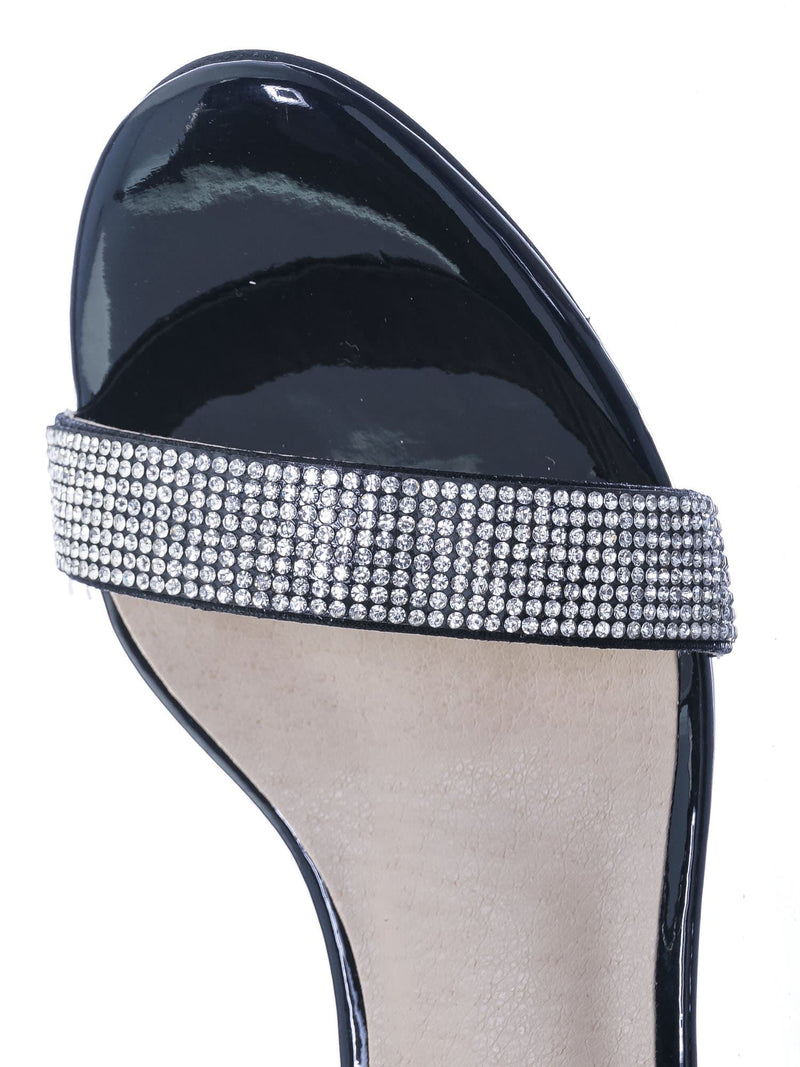 Black Silver / Rise9k Childern Rhinestone Low Heel Sandals - Girls Crystal Dressy Open Toe Shoe