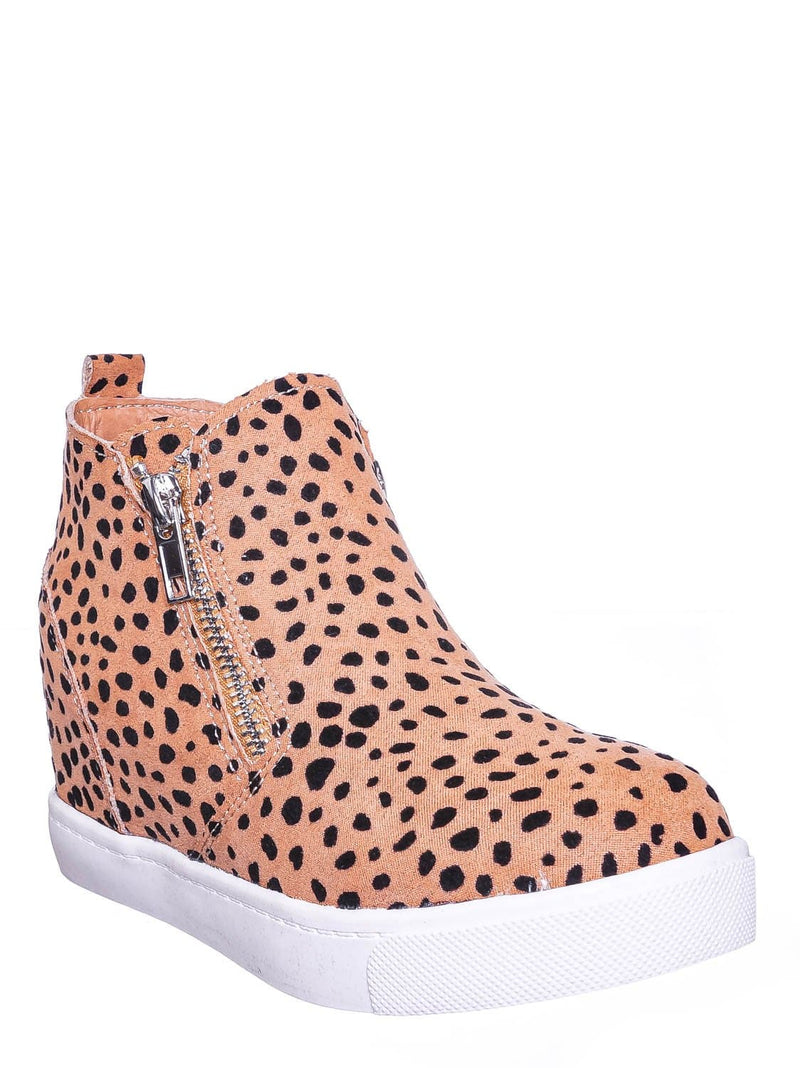 Leopard Brown / Taylor2 Childrens Athleisure Hidden Wedge Sneaker - Girls High Top Loafer Shoes