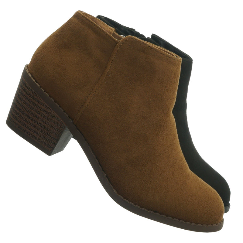 Chestnut Brown / MugIIS Girls Simple Ankle Bootie - Children Kids Round Toe Block Heel Boots