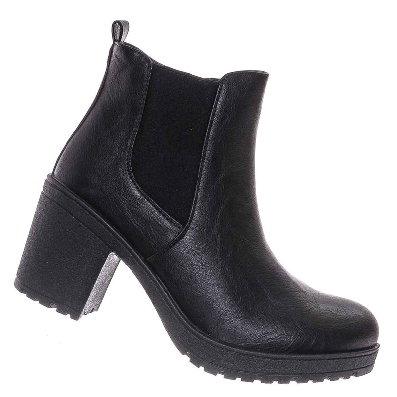 Status50 Block Heel Chelsea Boot - Chunky Block Heel Zip Up Ankle Bootie