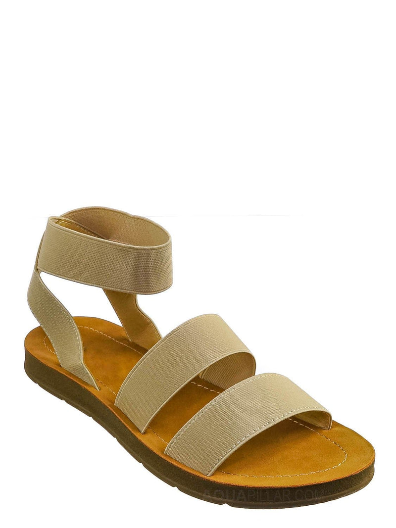 Light Beige / Sushi Lightweight Elastic Flatform Sandals Slip On - Womens Open Toe Flat Shoe