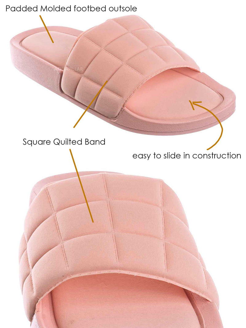 Blush Pink / Comex16 Boho Quilted Padded Sandal - Women Slide Molded Footbed Slipper Sandal