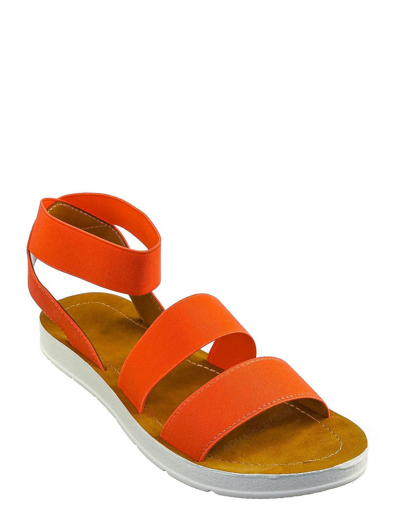 Coral Orange / Sushi Lightweight Elastic Flatform Sandals Slip On - Womens Open Toe Flat Shoe