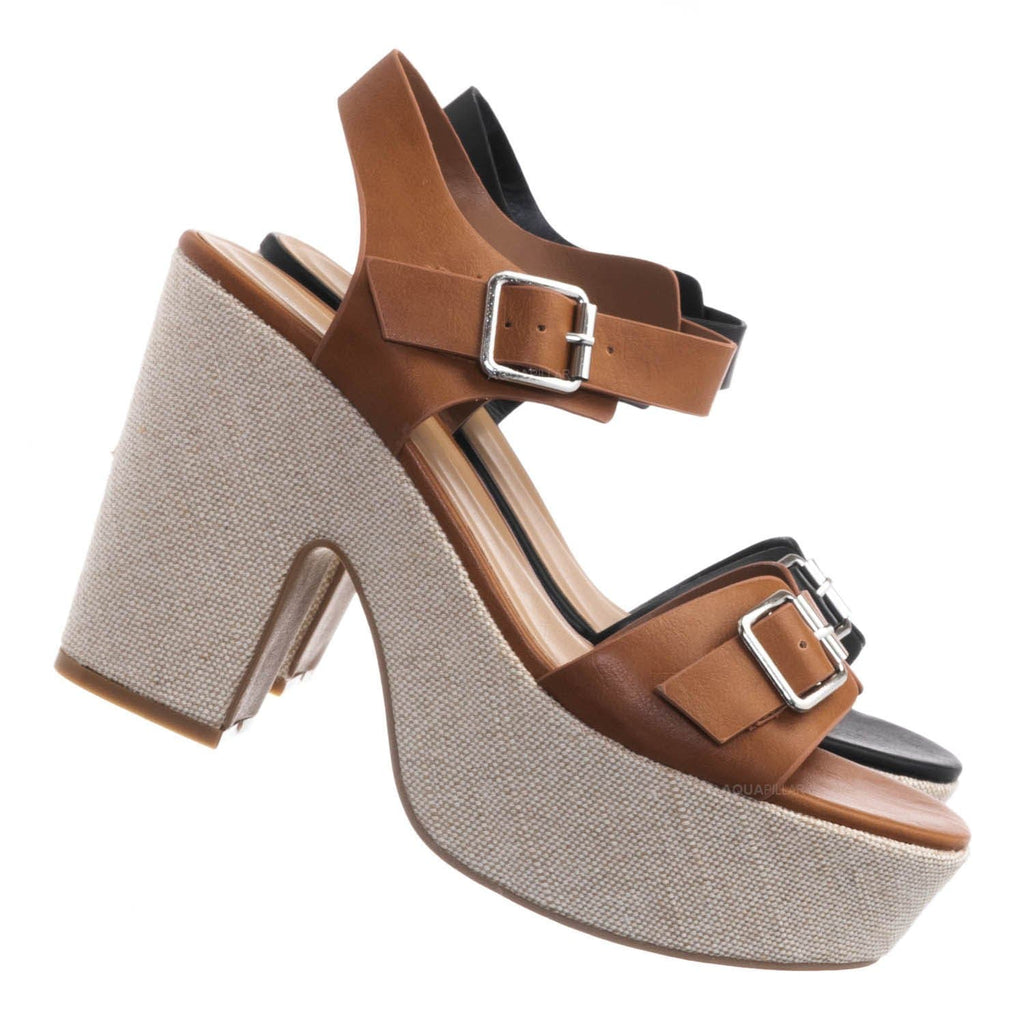 Tan Brown / Special05 Retro Raffia Woven Clog - Wrapped Sculpted Chunky Block Heel Platform