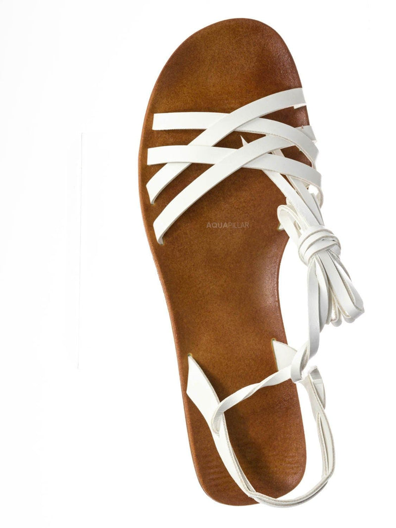 White Bnh / Moondance30 Flat Leg Wrap Gladiator Sandal - Wraparound Lace Up Strappy Shoes