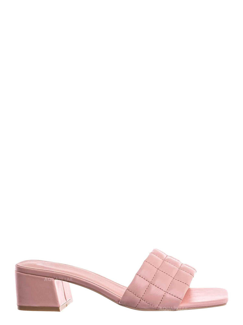 Pink / Byway Puffy Quilted Block Heel Mule - Women's Open Squared Toe Retro Slides