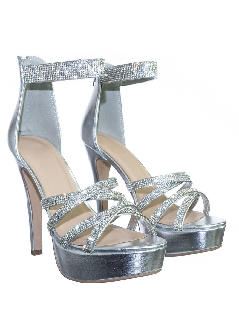 Mullen Silver Rhinestone Embellished Open Toe Platform Stiletto Party Dress Sandal