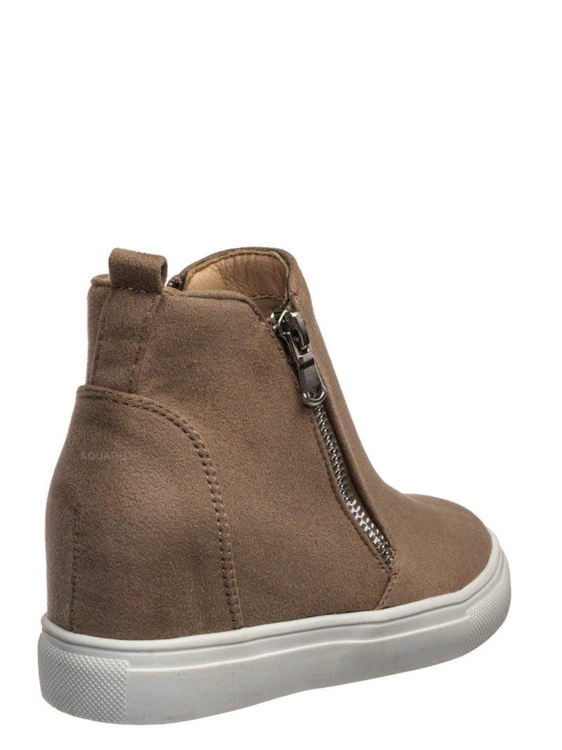 Taupe Beige / Taylor2 Childrens Athleisure Hidden Wedge Sneaker - Girls High Top Loafer Shoes