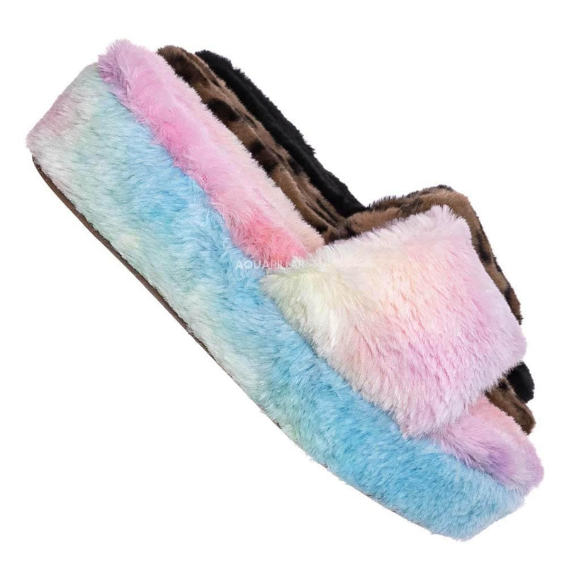 Multi Pastel Rainbow / Leverage12 Furry Platform Slides - Faux Fur Chunky Slipper In Rainbow & Leopard