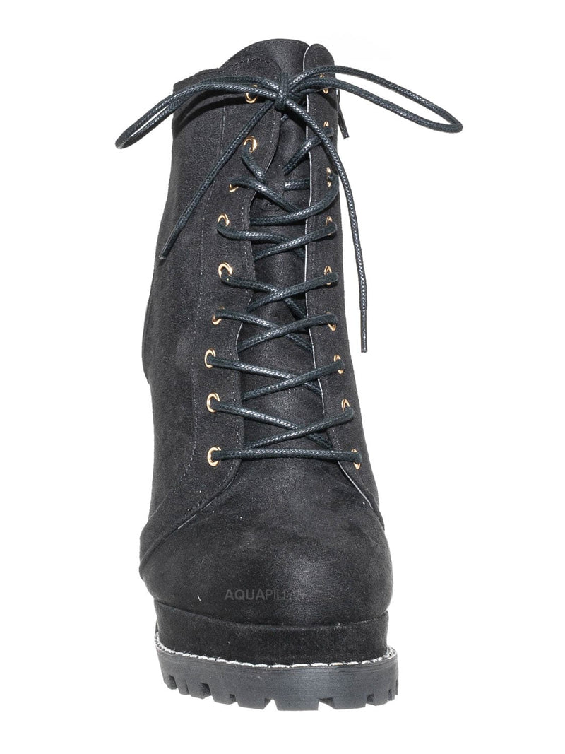 Black Suede / Vivian01 Chunky Block High Heel Lug Sole Bootie -Women Ankle Lace Up Combat Boot