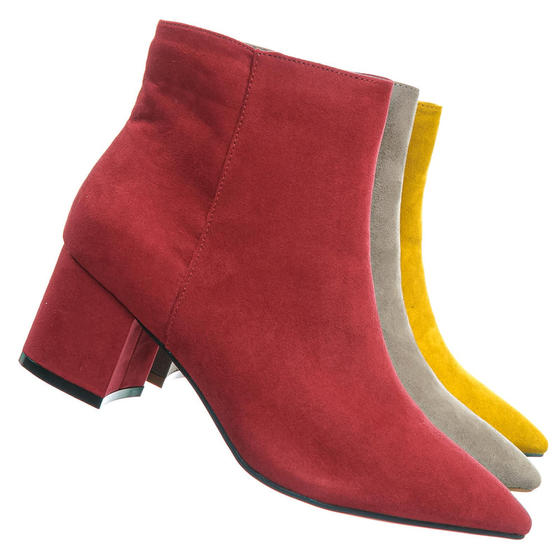 Red Fs / Rapid01 Red Fs Pointed Toe Block Heel Dress Bootie - Women Chunky Heel Ankle Boots