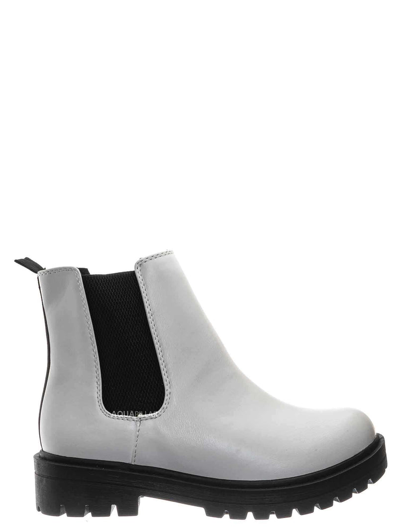 White Black / Pilot Threaded Lug Sole Chelsea Ankle Bootie