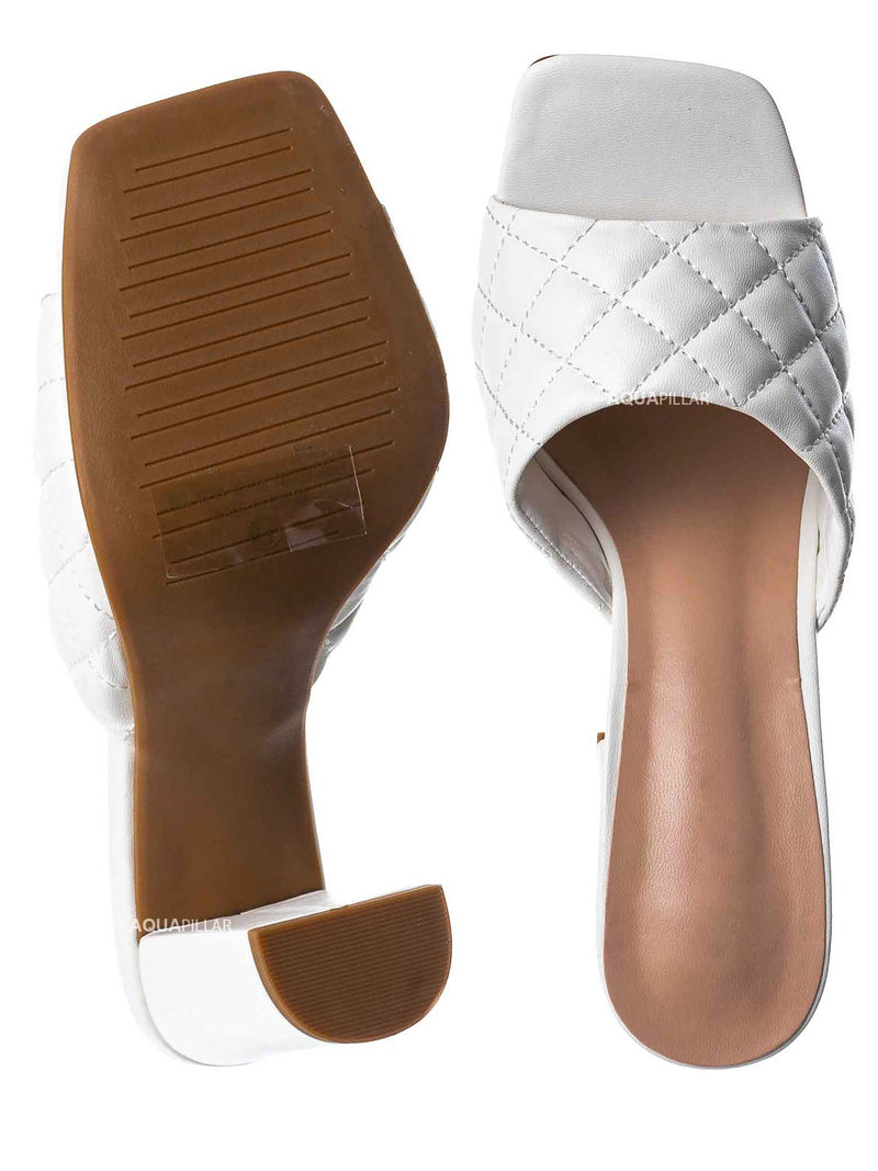 White / Pita1 Quilted Block Heel Mule - Women's Slide In Open Square Toe Shoes