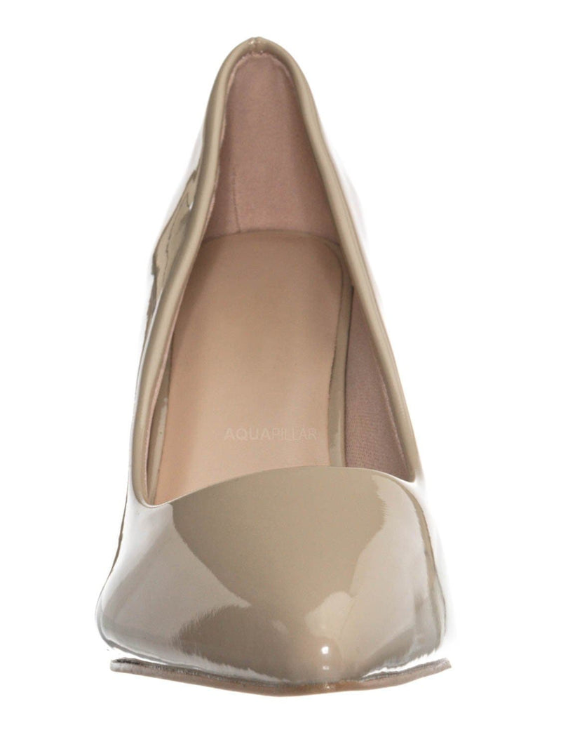 Beige / Sanzi2 Low Stiletto Heel Pumps - Slip On Dress Shoes Solid Or Animal Prints