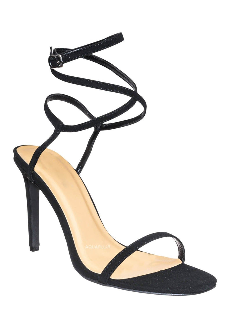 Black Nubuck / Timeless43 Thin Ankle Strap Stiletto Sandal - Women Criss Cross High  Heel Shoes