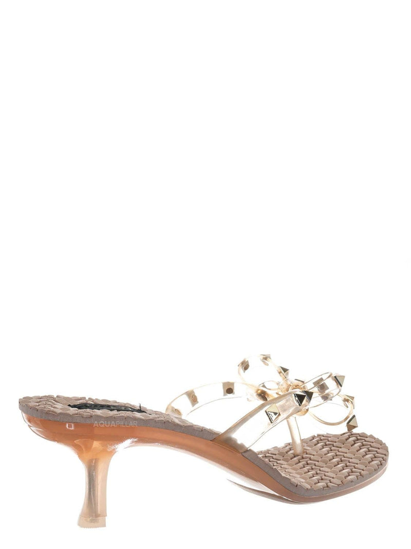 Nude Beige / Evon02 Lightweight High Heel Slipper - Lucite Jelly Bow Strap Pyramid Studs