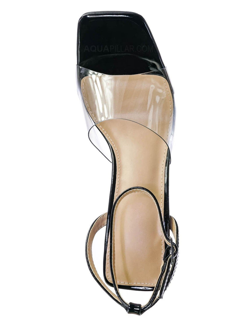 Black Pat / Maze01 Lucite Transparent Open Square Toe Sandal - Clear Chucky Triangle Heel