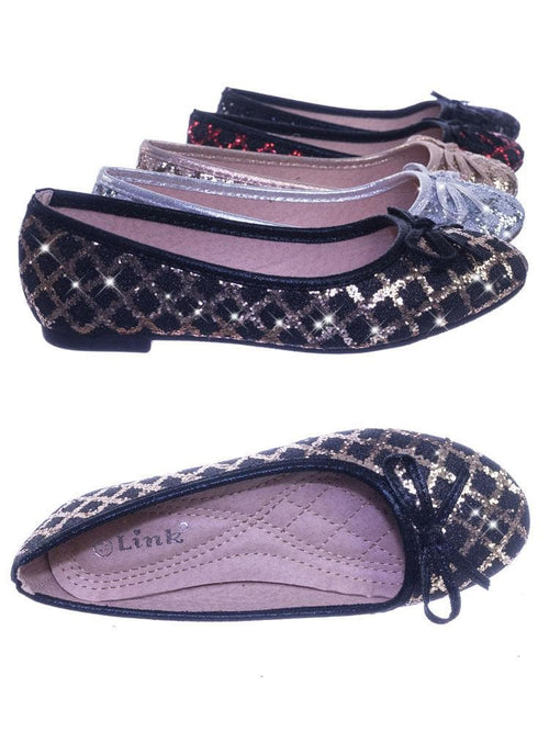 Karra46 Gold black Children Girls Fancy Round Toe Ballet Flat w Criss Cross Glitter