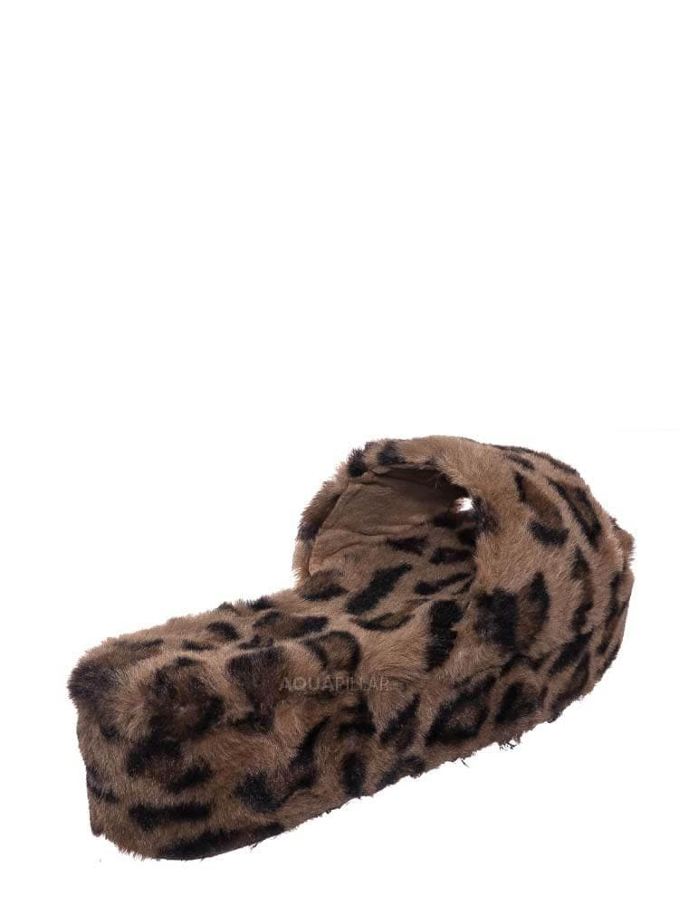 Leopard F-Fur / Leverage12 Furry Platform Slides - Faux Fur Chunky Slipper In Rainbow & Leopard