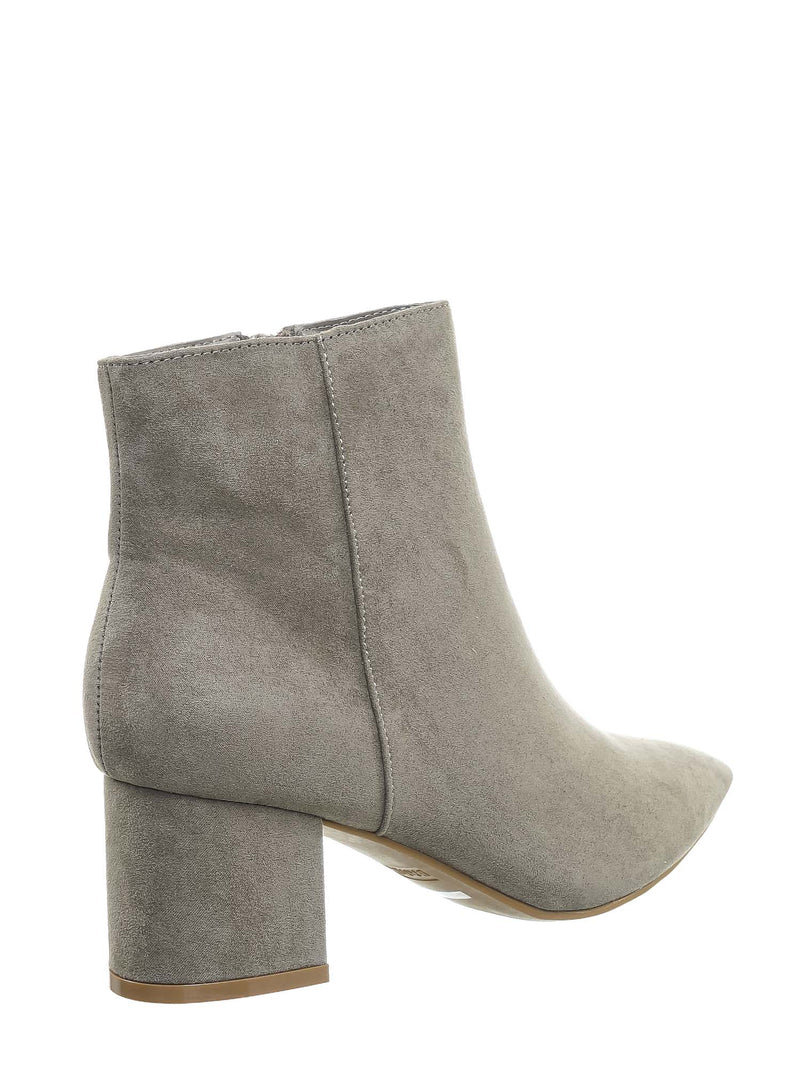 Taupe Gray / Rapid01 Taupe Gray Pointed Toe Block Heel Dress Bootie - Women Chunky Heel Ankle Boots