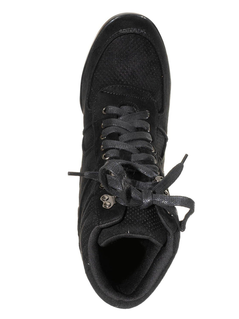 Black / Kaipo88K Kids 90s Hidden Wedge Sneaker - Athleisure Lace Up No Show Heel Shoes