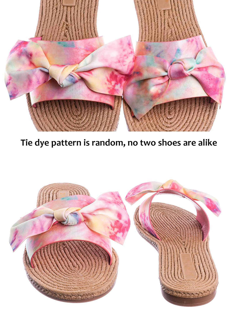 Pink Tie Dye / Athena12 Espadrille Woven Knotted Bow Slides - Jute Rope Weaved Slip On Sandal