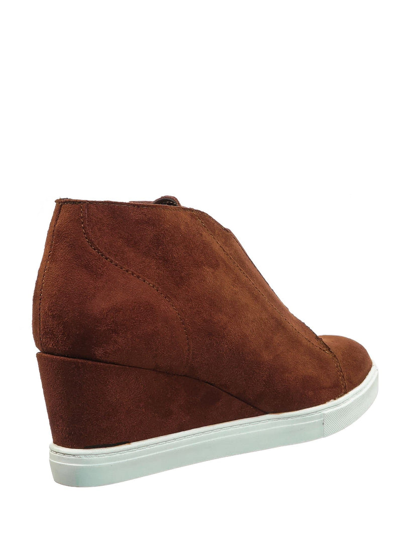 Vesper Dark Rust Red Hidden Wedge Heel Sneakers - Women Sporty Elastic Shootie