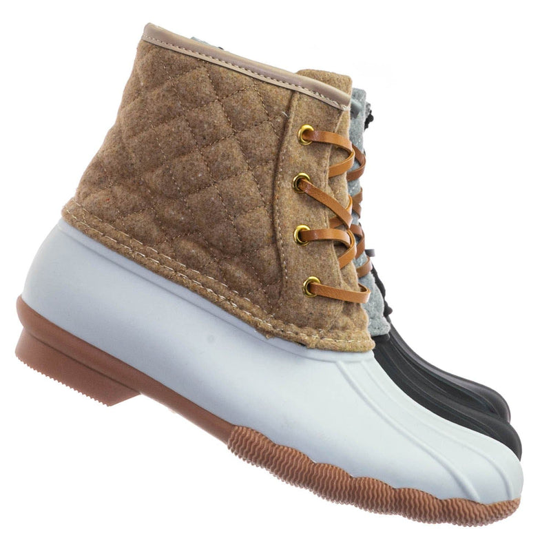 Tan White / Leo2 Waterproof Lace Up Boots - Quilted Felt Lining Ankle Height Bootie