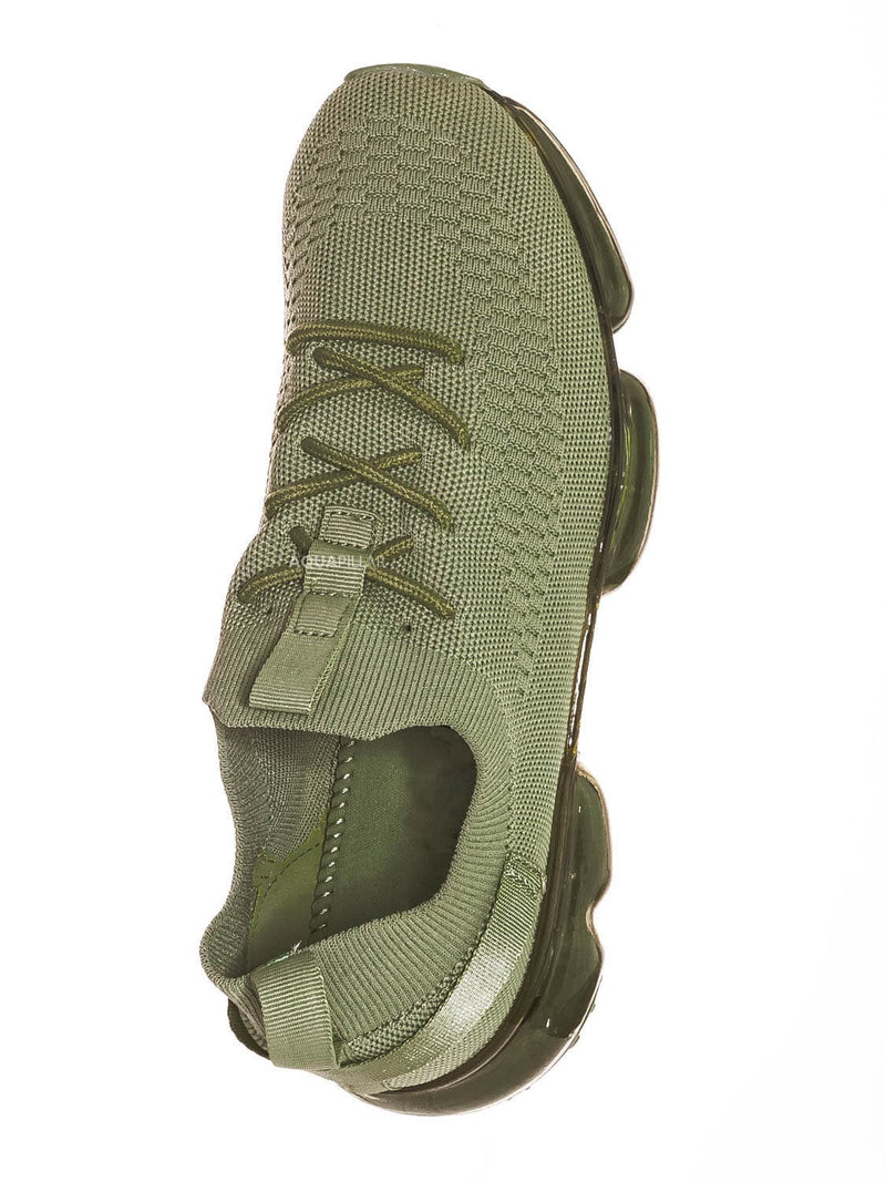 Olive Green / Flow19 Stretch Elastic Mesh Sneaker - Festival Lace Up Rubber Air Bubble Cushion