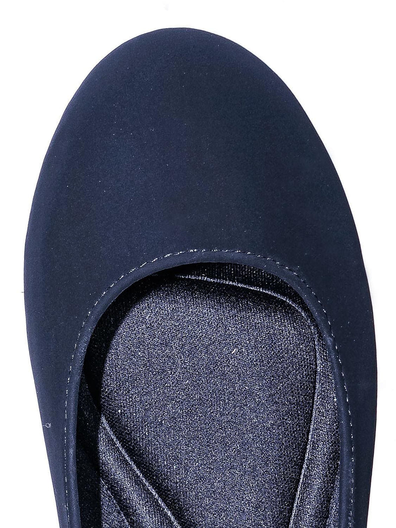 Black Nubuck / Kreme Foam Padded Round Toe Ballet Flat - Womens Ballerina Loafer Shoes